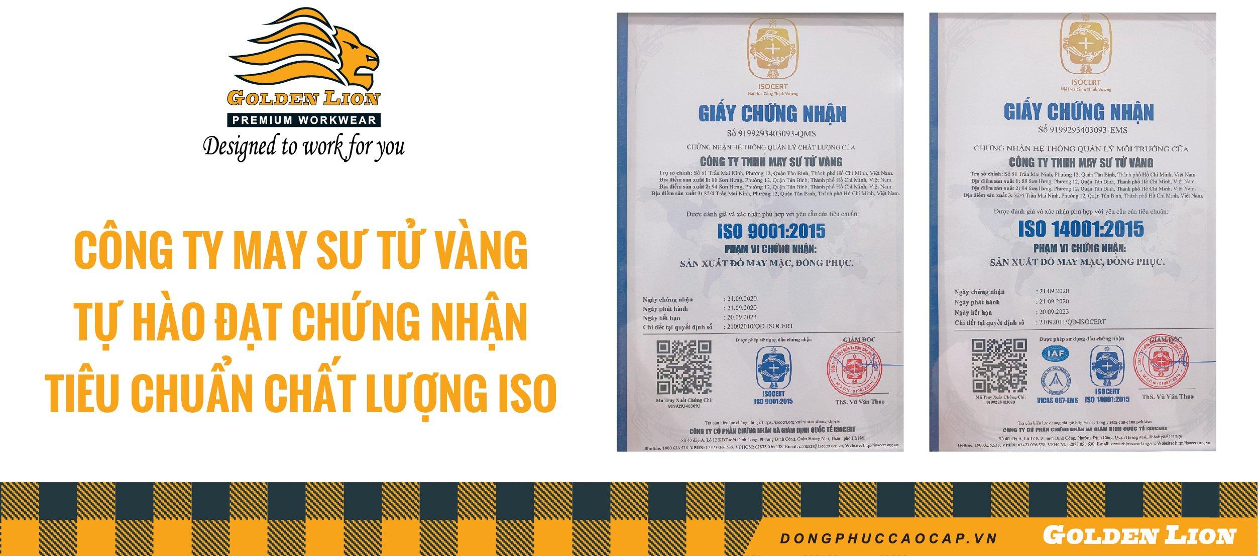CÔNG TY MAY SƯ TỬ VÀNG TỰ HÀO ĐẠT CHÚNG NHÂỊ TIÊU CHUẨN CHẤT LƯỢNG ISO 9001:2015